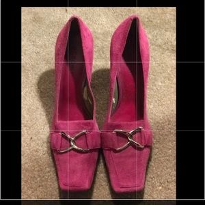 BCBG Vintage hot pink suede pumps